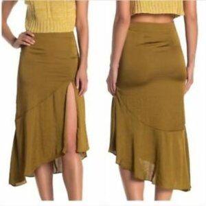 Free People Lola Moss Boho Asymmetrical Skirt 8 10